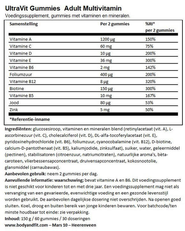 UltraVit Gummies Adult Multivitamin - 60 gummies Nutritional Information 1