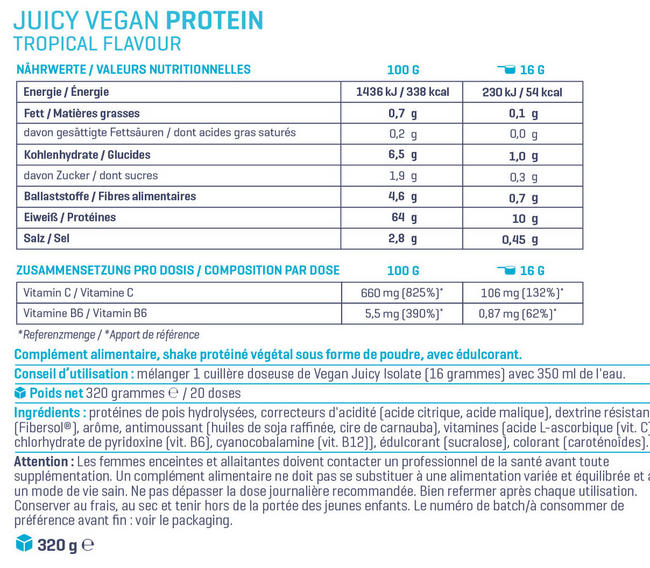 Juicy Vegan Protein Nutritional Information 1
