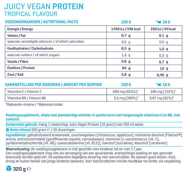 Juicy Vegan Protein Nutritional Information 1