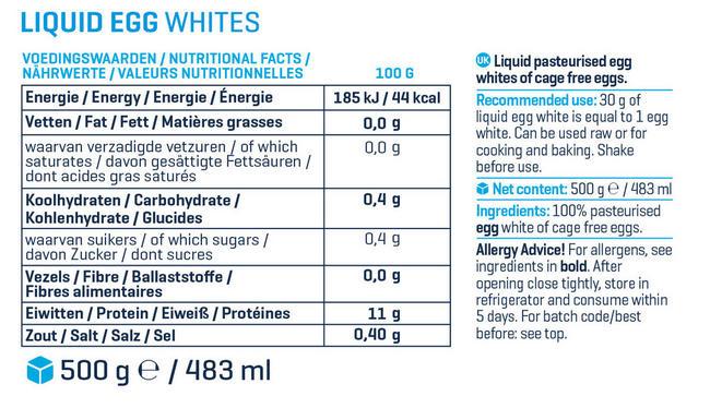 B&F Liquid Egg Whites Nutritional Information 1
