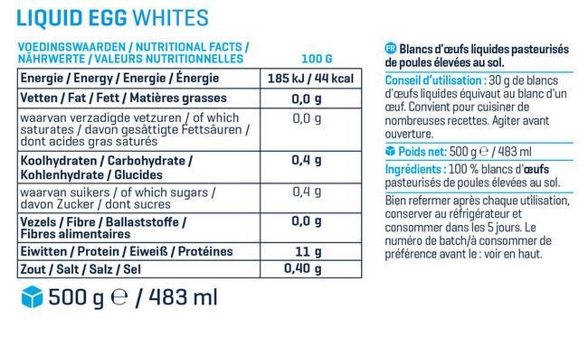Blancs d'oeufs liquides Nutritional Information 1