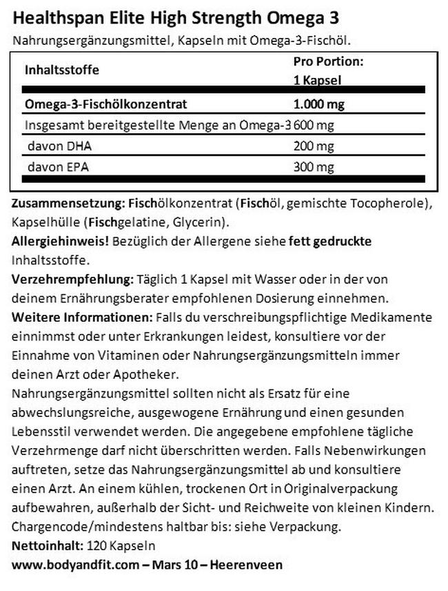 Healthspan Elite High Strength Omega 3 Nutritional Information 1