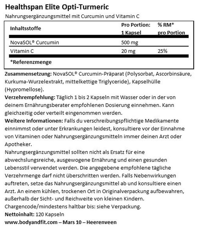 Elite Opti-Turmeric Nutritional Information 1
