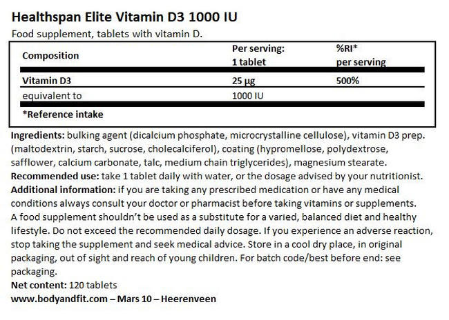 Elite Vitamin D3 1,000iu  Nutritional Information 1