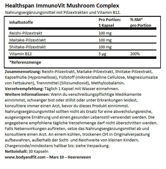 ImmunoVit Mushroom Complex Nutritional Information 1