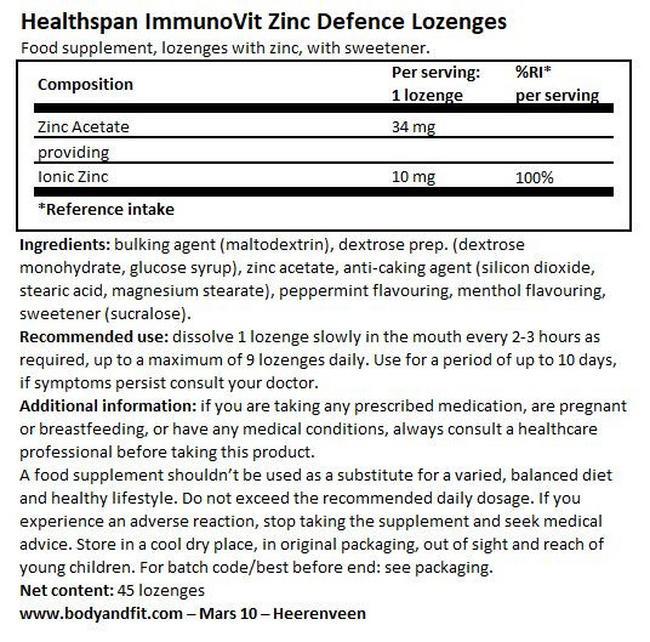 ImmunoVit Zinc Defence Lozenges Nutritional Information 1