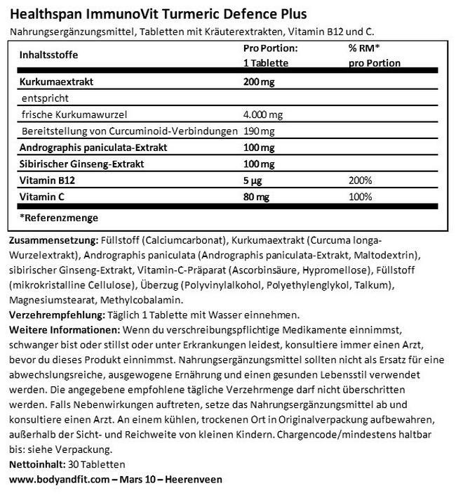 ImmunoVit Turmeric Defence Plus Nutritional Information 1