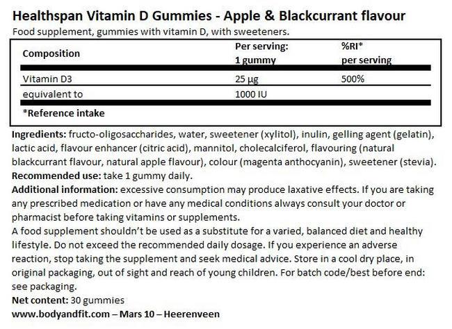 Vitamin D Apple & Blackcurrant Gummies Nutritional Information 1