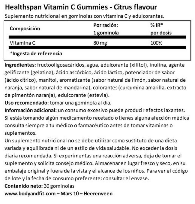 Vitamin C Citrus Gummies | Healthspan Nutritional Information 1