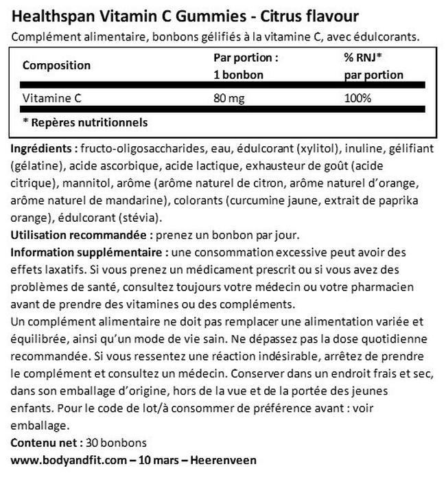 Bonbons gélifiés à la vitamineC goût agrumes| Healthspan Nutritional Information 1