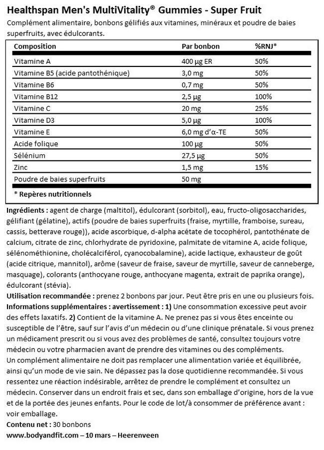 Bonbons gélifiés Men's MultiVitality® Fruits des bois Nutritional Information 1