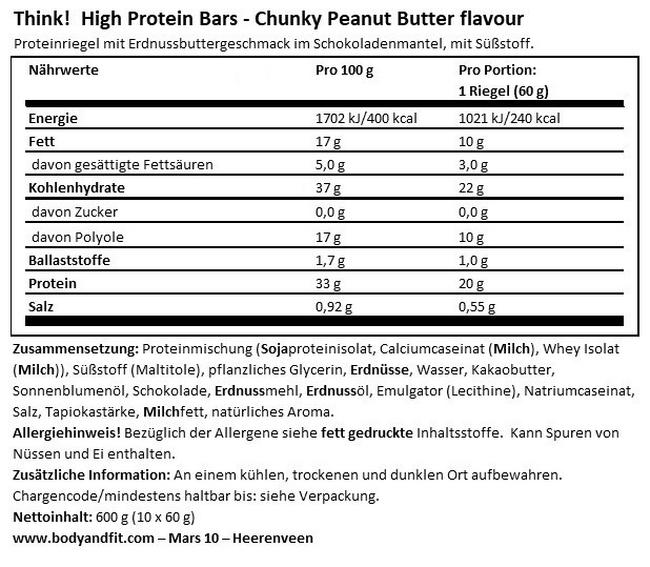 Think! Protein Bar  Nutritional Information 1