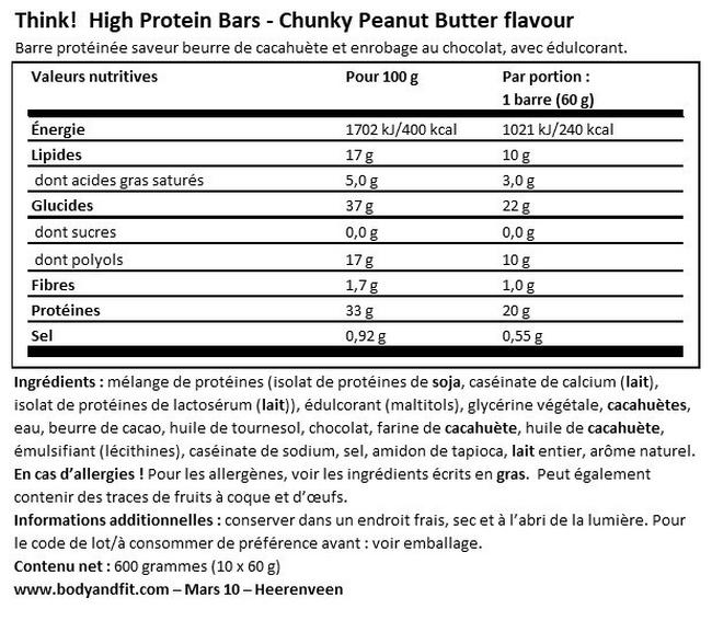 Barre protéinée Think! Protein Bar  Nutritional Information 1