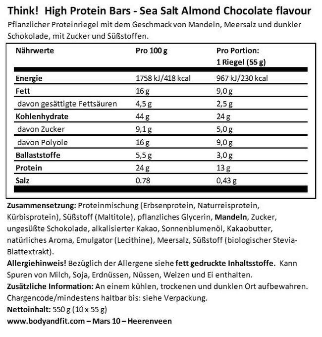 Think! Vegan Bar Nutritional Information 1