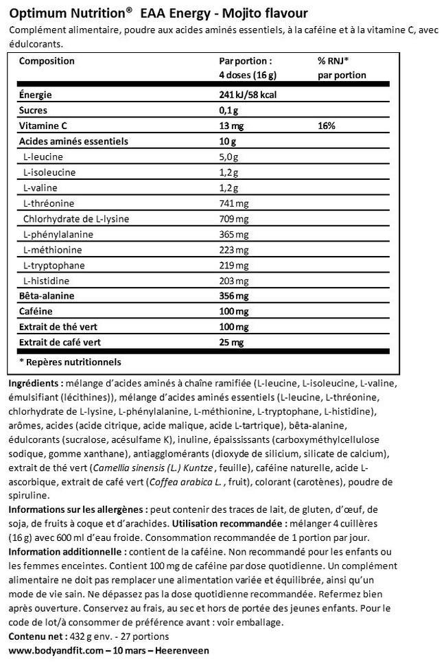 Boisson énergétique EAA Energy Nutritional Information 1