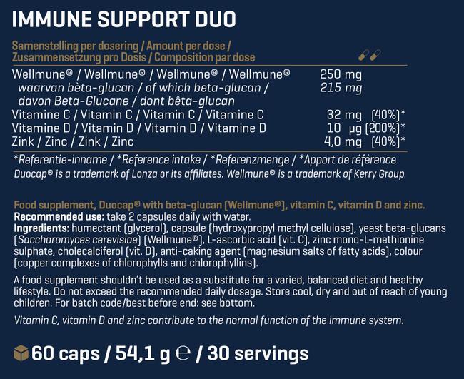イミューン サポート* デュオ Nutritional Information 1