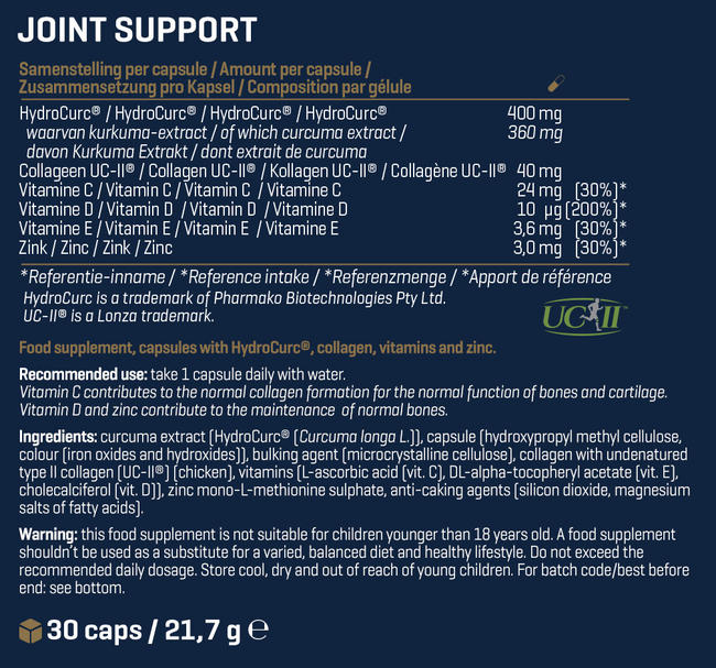 Joint Support Nutritional Information 1