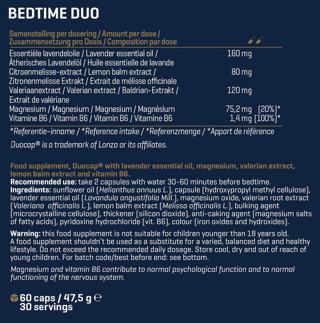 Bedtime* Duo  Nutritional Information 1