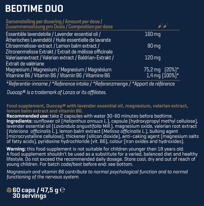 ベッドタイム デュオ Nutritional Information 1