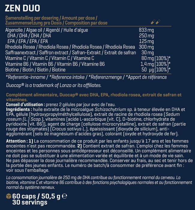 Zen Duo Nutritional Information 1