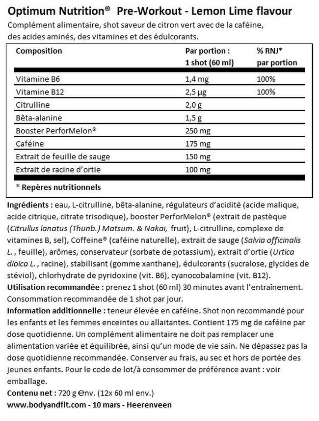 Gold Standard Preworkout Shot Nutritional Information 1