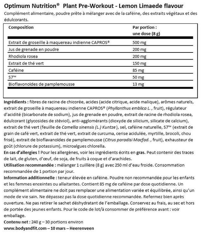 Gold Standard Plant Pre-Workout Nutritional Information 1