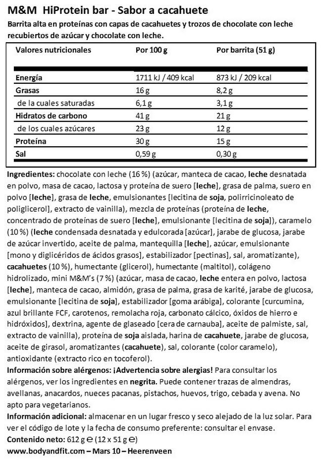 M&MS PROTEIN BAR I  Mars Nutritional Information 1