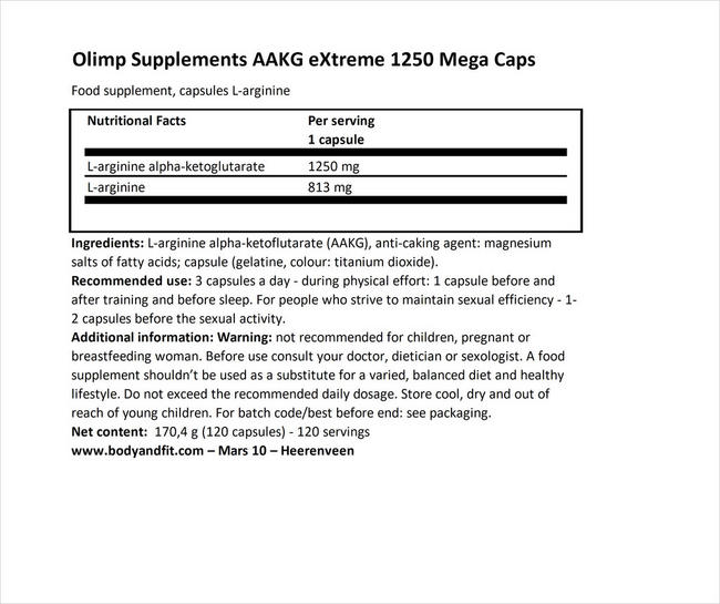 AAKG eXtreme 1250 Mega Caps Nutritional Information 1