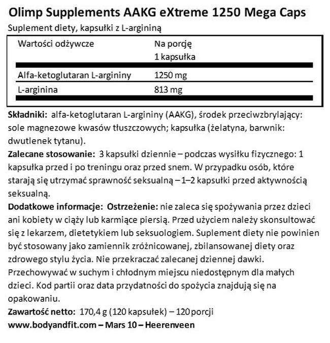 AAKG eXtreme 1250 Mega Caps Nutritional Information 1