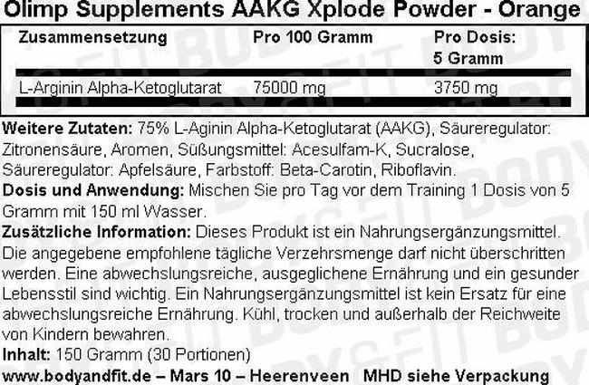 AAKG Xplode Powder Nutritional Information 3