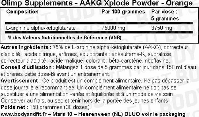 Poudre AAKG Xplode Nutritional Information 1