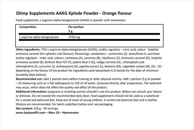 AAKG Xplodeパウダー Nutritional Information 1
