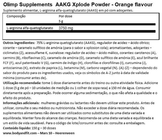AAKG Xplode Powder Nutritional Information 1