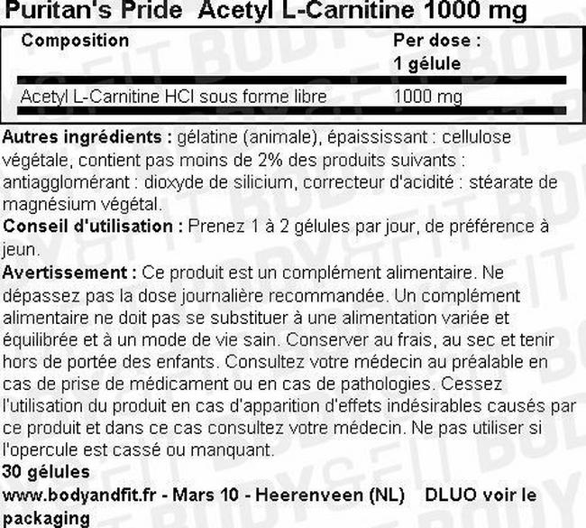 Acetyl L-Carnitine 1000mg Nutritional Information 1