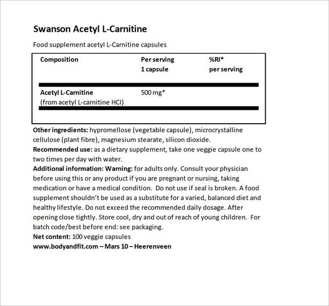 Acetyl L-Carnitine 500mg Nutritional Information 2