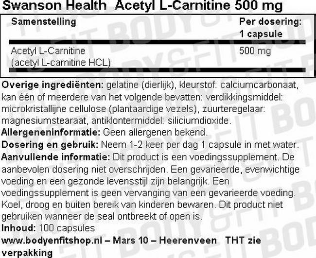 Acetyl L-Carnitine 500mg Nutritional Information 1