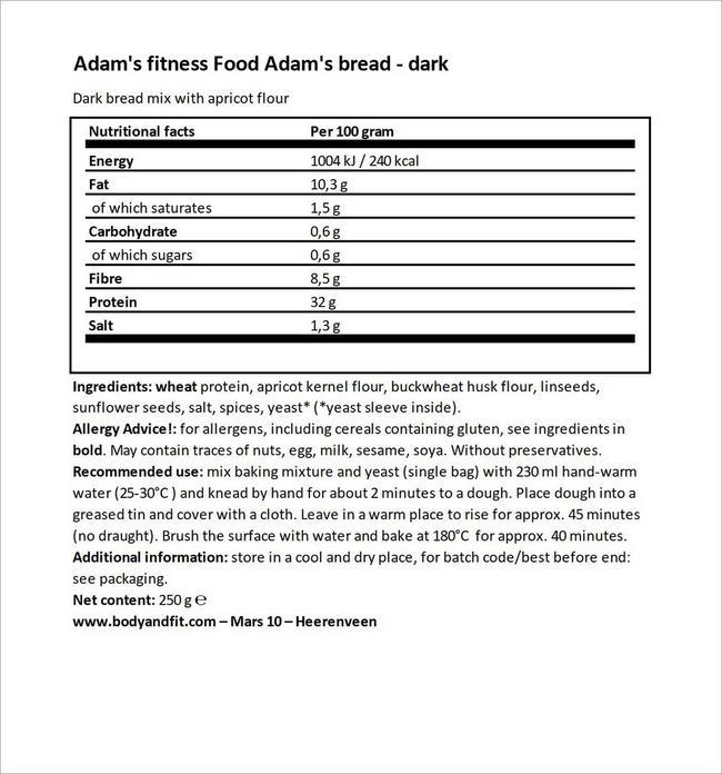 Adam's Brot Préparation pour pain Nutritional Information 4