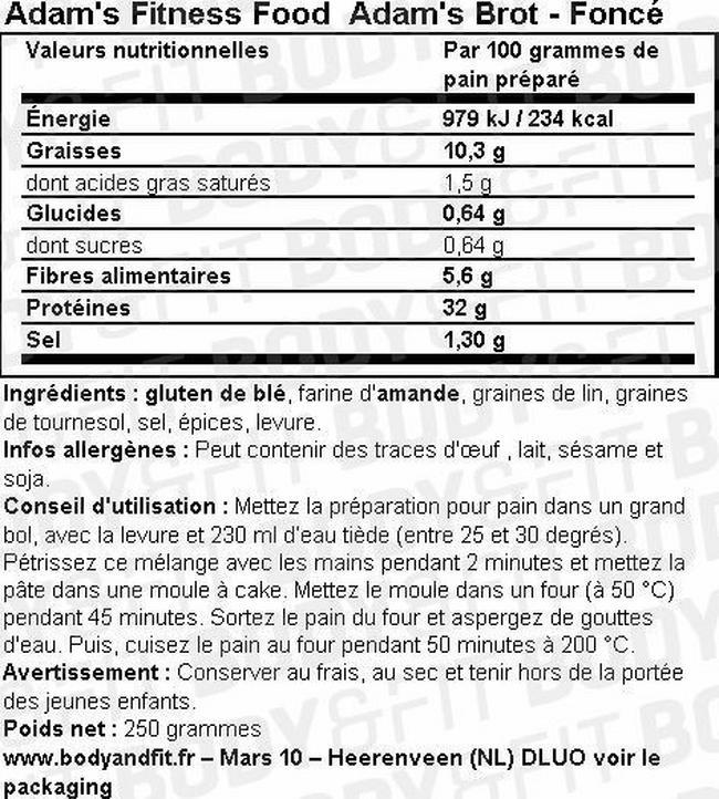 Adam's Brot Préparation pour pain Nutritional Information 1
