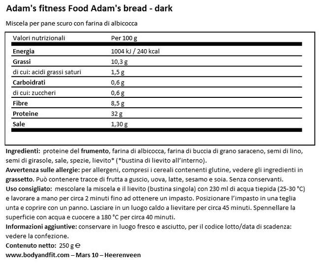 Pane ad alto contenuto proteico - Adam's Nutritional Information 1