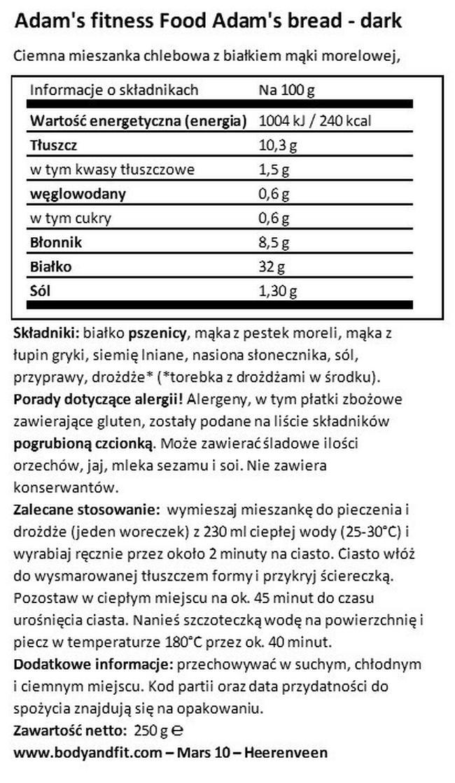 Wysokobiałkowy chleb Adam's Nutritional Information 1