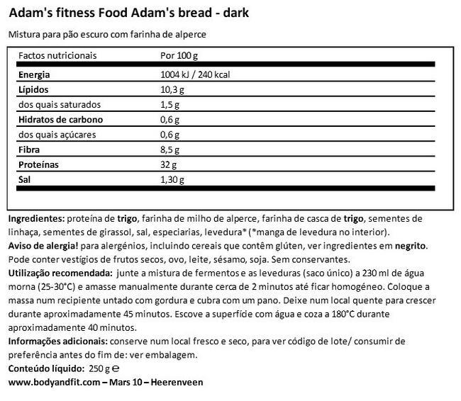 Adams - Pão sem glúten rico em proteína Nutritional Information 1