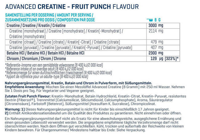 Advanced Creatine Nutritional Information 1
