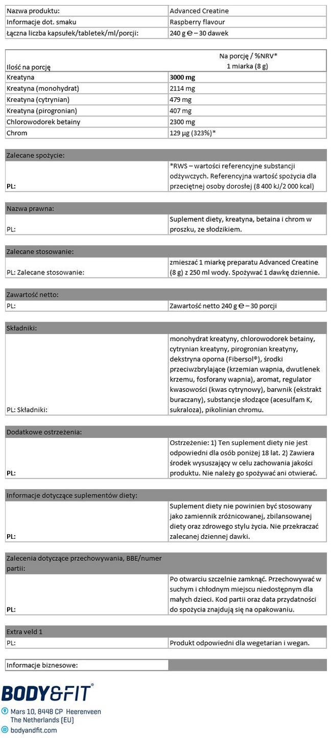 Advanced Creatine Nutritional Information 1