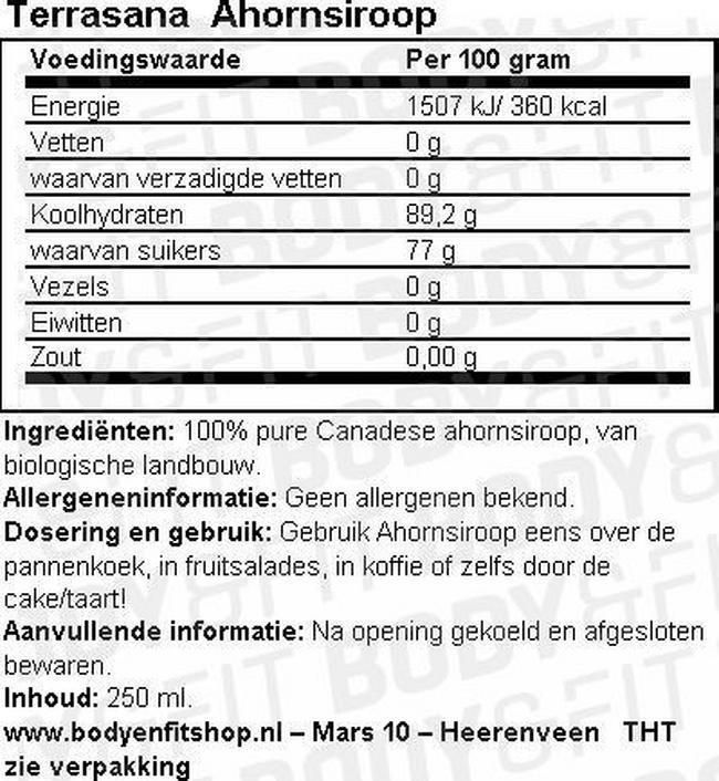 Ahornsiroop Nutritional Information 1