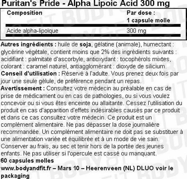 Alpha Lipoic Acid 300 mg Nutritional Information 1