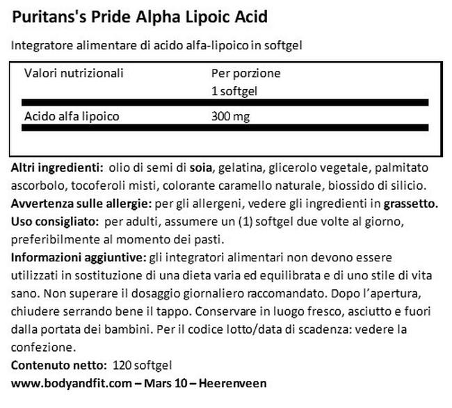 Acido Alfa Lipoico 300 mg Nutritional Information 1
