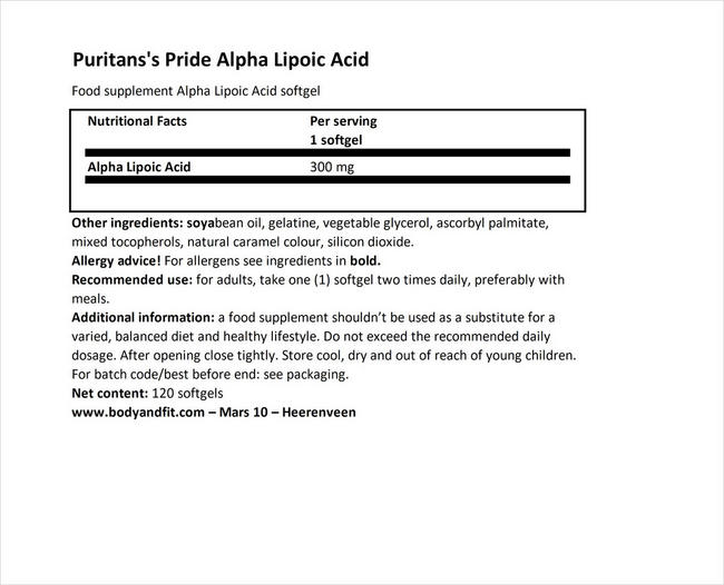 アルファ リポイックアシッド 300mg Nutritional Information 1