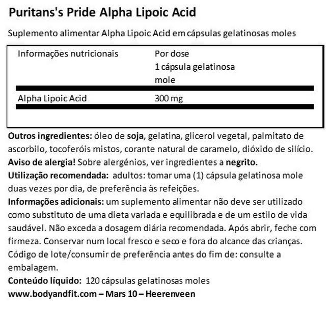 Alpha Lipoic Acid 300mg Nutritional Information 1