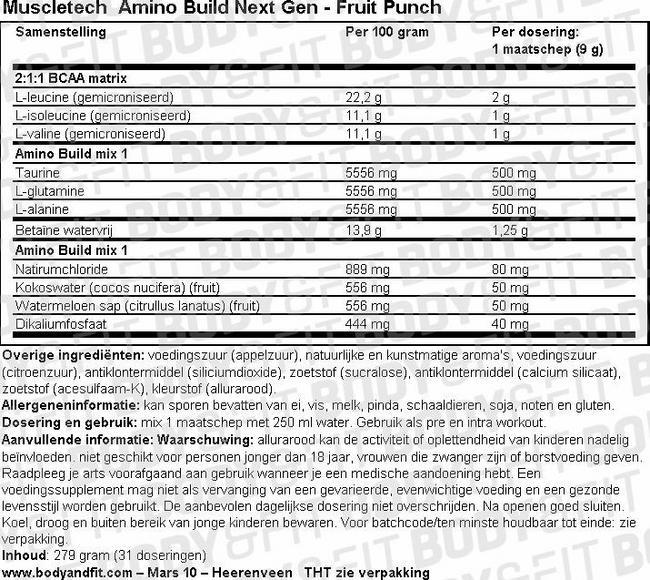 Amino Build Next Gen Nutritional Information 1