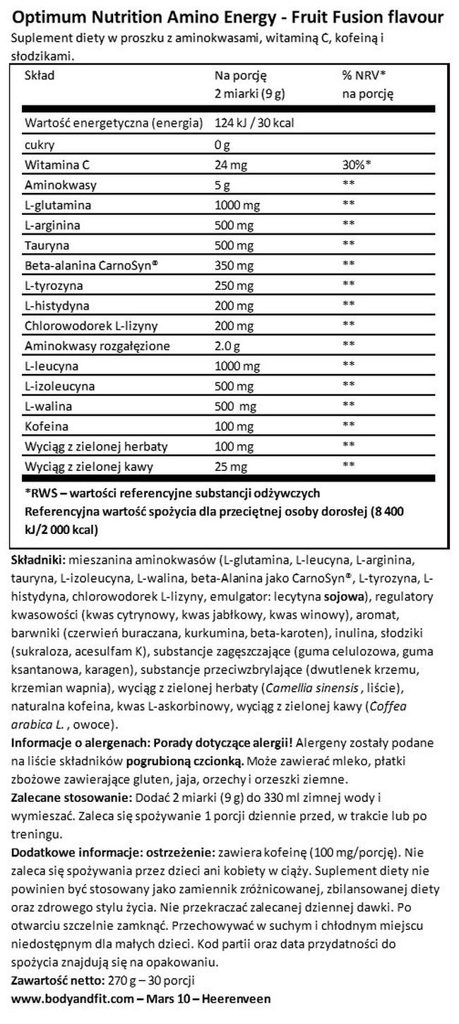 Amino Energy Nutritional Information 1